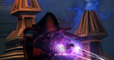 L'Empereur Sith utilisant les éclairs de choc