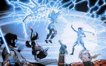 Dark Krayt électrocuté par Celeste Morne