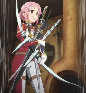 Chan.sankakucomplex.com - 4197112 - a-1 pictures bow (weapon) dagger freckles high resolution lisbeth pink eyes pink hair screen capture short hair