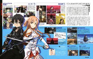 Sword art online - Kirigaya Kazuto Yuuki Asuna Brown Hair Duo Female Long Hair Male Official Art Scan