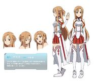 Sword art online - Yuuki Asuna Brown Hair Female Long Hair Solo Character Sheet Official Art Official Character Inform...