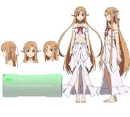 Sword art online - Yuuki Asuna Barefoot Braids Brown Eyes Brown Hair Choker Closed Mouth Collarbone Female Japanese Text Long Hair Looking At Camera Midriff Numbers Pointy Ears Si