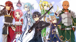 Safebooru.org - 1154735 - sword art online ~ agil+asuna (sao)+asuna (sao-alo)+kirito+kirito (sao-alo)+klein+leafa+lisbeth+pina (sao)+silica+silica (sao-alo)+yui (sao)+yuuki asuna