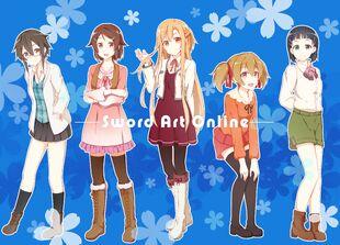 Safebooru.org - 1266069 - sword art online ~ asada shino+asuna (sao)+kirigaya suguha+lisbeth+silica+yuuki asuna