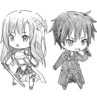 Asuna and kirito sketch by ureshiijelek-d5aowah