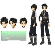 Sword art online - Kirigaya Kazuto Black Eyes Black Hair Boots Closed Mouth Collarbone Hand On Hip Japanese Text Looking At Camera Male Numbers Pointy Ears Short Hair Side View Si