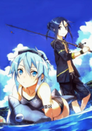 Kirito and Sinon swimsuits