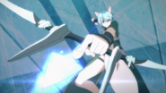 Sinon firing a Sword Skill arrow up-close