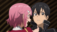Lisbeth lashing out at Kirito for breaking her sword