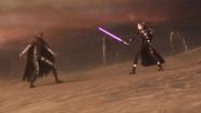 Death Gun moving away from Kirito in Fatal Bullet