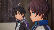 Kirito comforting male Fatal Bullet Protagonist in Fatal Bullet Bad End