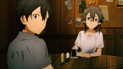 Kazuto surprised by Asuna's arrival - S3E01