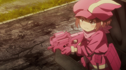 LLENN discarding her suitcase disguise
