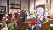 Kirito informing the girls of the Hollow Area's Grand Quest