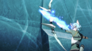 Sinon firing a Sword Skill arrow