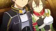 Sinon takes a nap on Kirito's Shoulder