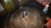 Kirito testing his new sword at Sadore's shop - S3E07