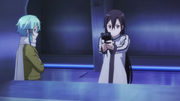 Kirito and Sinon in the firing range