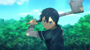 Kirito preparing to hit the Gigas Cedar with the Dragonbone Axe - S3E02