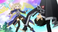 Silica trying to rescue Kirito from a plant monster MT