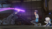 Male Fatal Bullet Protagonist shielding female Afasys from Kirito