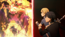 Deusolbert Synthesis Seven using Armament Full Control Art against Eugeo and Kirito - S3E14
