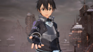 Kirito welcoming Fatal Bullet Protagonist to Gun Gale Online