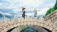 Eugeo and Kirito setting off on their journey to the central city - S3E04