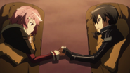 Lisbeth and Kirito holding hands