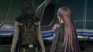 Death Gun approaching Kiriko in Fatal Bullet