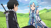 Kirito and Asuna talking about Kikuoka Seijirou