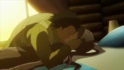 M kissing unconscious Pitohui during MMTM's assault in SJ2 AGGO S01E10