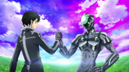 Kirito and Silver Crow reaffirming their friendship