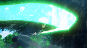 Kirito testing the Blue Rose Sword on the Gigas Cedar - S3E03