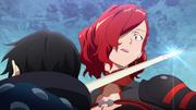 Kirito threatening Rosalia