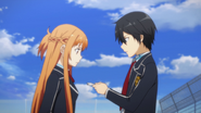 Kazuto giving Asuna an address to a hospital