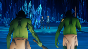 Goblins from the Dark Territory approaching Kirito and terrified Eugeo - S3E03
