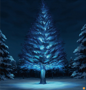 Design Works coloured concept for The giant fir tree in the Forest of Wandering