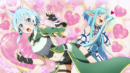 Asuna stroking Sinon's tail MT