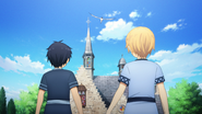 Eugeo and Kirito powerlessly watching as Alice is taken by Integrity Knight - S3E01