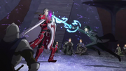 Kirito attacking Heathcliff with Rage Spike
