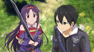 Yuuki asking Kirito for permission to fight after her Heroine Event HR DLC2