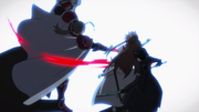 Heathcliff striking Asuna