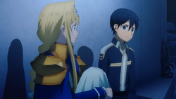 Kirito promising to tell Alice about her past - S3E18