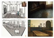 Concepts for the Church of the Town of Beginnings' interior from Design Works art book