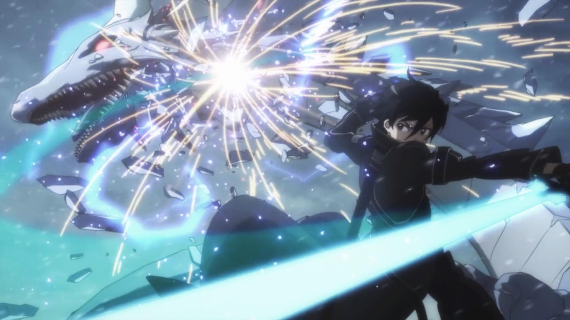 Kirito Fighting Xrphan The White Wyrm