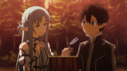 Asuna and Kirito purchasing Forest House in ALO
