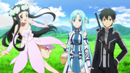 Kirito and Asuna having a walk with Yui MT