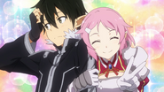 LS Lisbeth clinging to Kirito for a photo