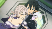 LS Strea and Yui hugging Kirito